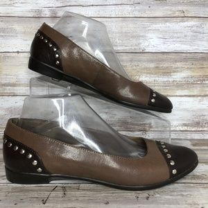 Aerosoles Know It All Brown Studded Loafer Flats.